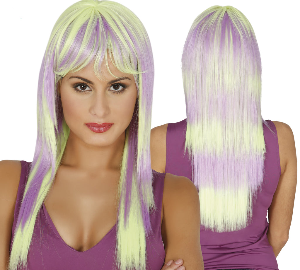 Stunning high quality green and purple two tone ladies neon wig