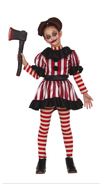 Mad Striped Clown Costume Girl