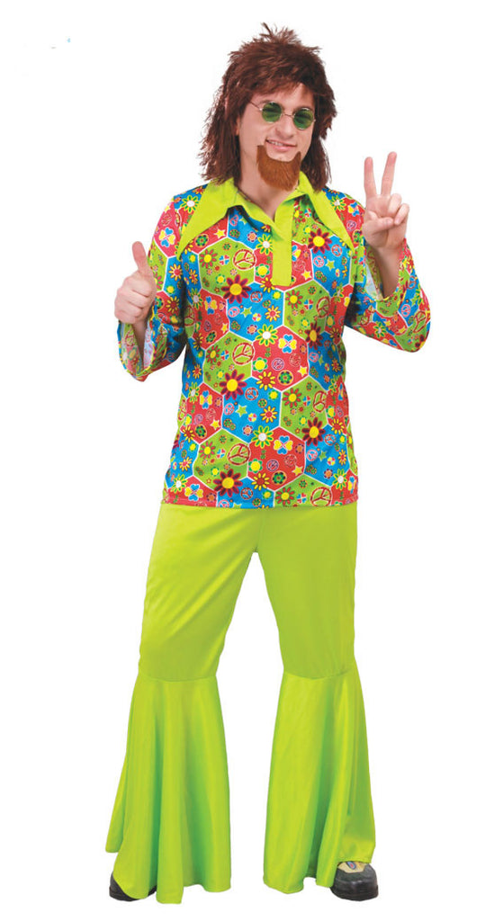 Take a trip back in time with this men's Flower Power Hippie Costume. The flower shirt and bellbottom pants are guaranteed to help you make a psychedelic entrance your inner men's hippy.