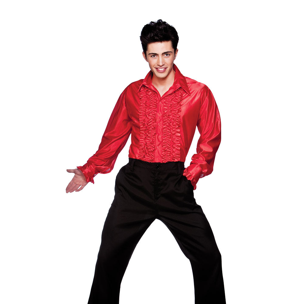 Men's 1970's Disco Ruffle Shirt Red for fancy dress party