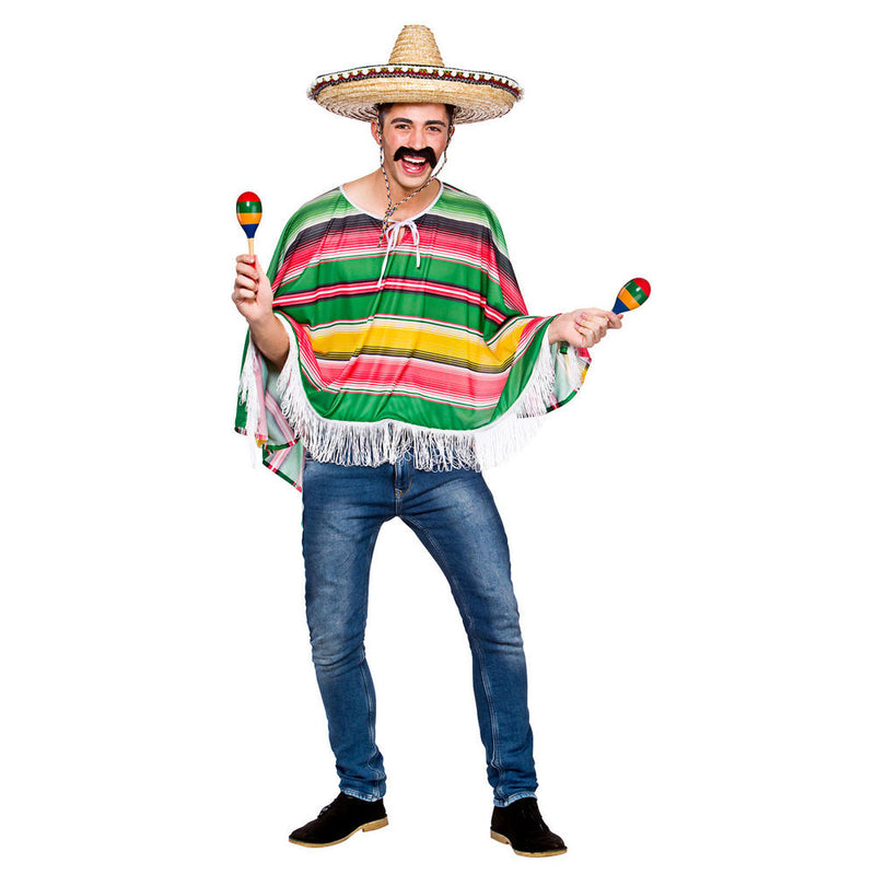 Mexican Multicoloured Poncho adult fancy dress Costume