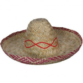Mexican Sombrero hat with red trim.