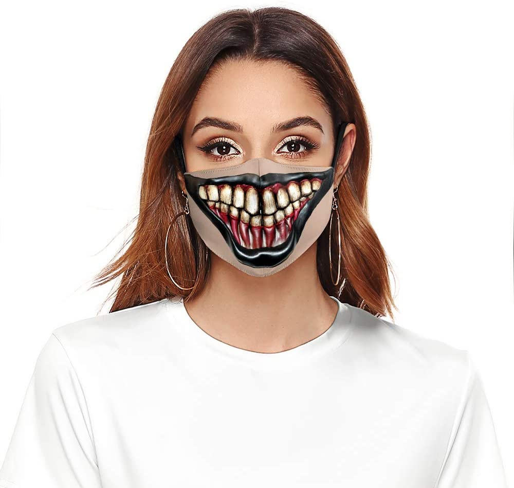 Monster Mouth Halloween Reusable Face Mask Ladies