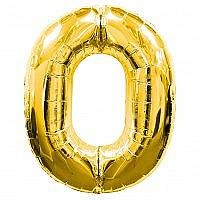 Number 0 Gold Foil Balloon
