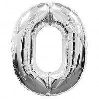 Number 0 Silver Foil Balloon