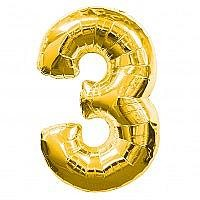Number 3 Gold Foil Balloon