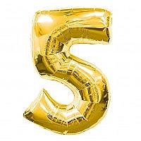 Number 5 Gold Foil Balloon