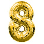 Number 8 Gold Foil Balloon