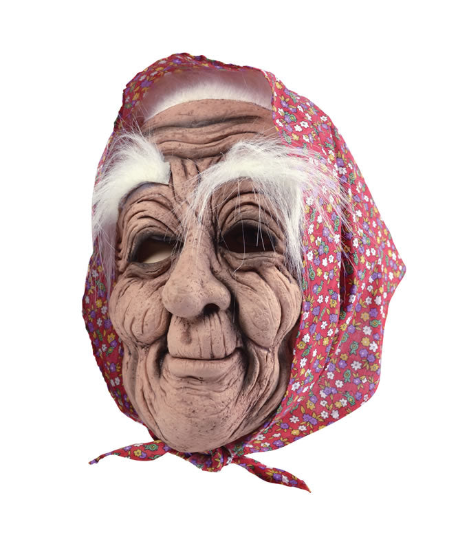 Old Woman Rubber Mask and Scarf