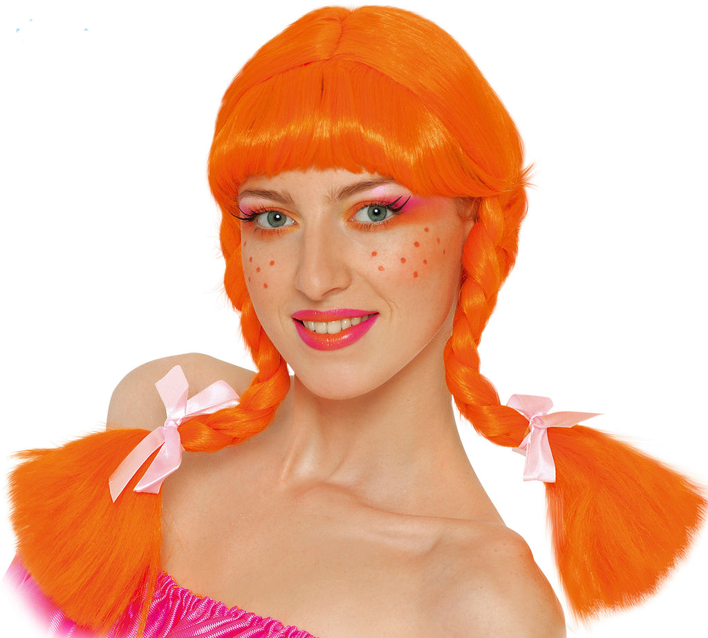 Orange Plaited Wig