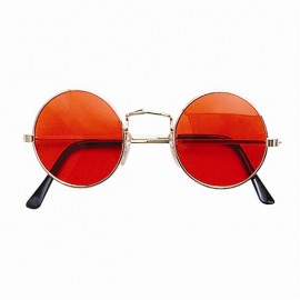 Orange Round Hippie Fancy Dress Glasses