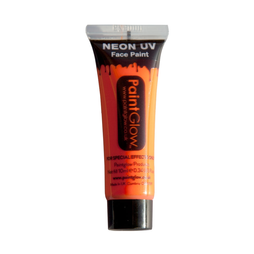Why not create stunning effects on the face and body using our PaintGlow Neon UV Face Paint 10ml Orange. Our day-glow pigments exhibit extremely intense bright Neon colours in natural lighting, and when exposed to UV lighting / black lighting conditions they glow fantastically, producing amazing fluorescent UV Colours.