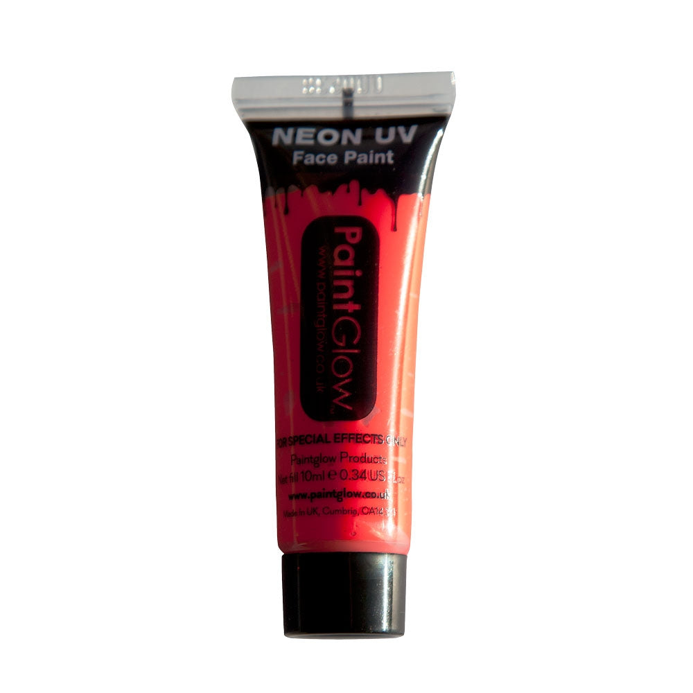 Why not create stunning effects on the face and body using our PaintGlow Neon UV Face Paint 10ml Red. Our day-glow pigments exhibit extremely intense bright Neon colours in natural lighting, and when exposed to UV lighting / black lighting conditions they glow fantastically, producing amazing fluorescent UV Colours.