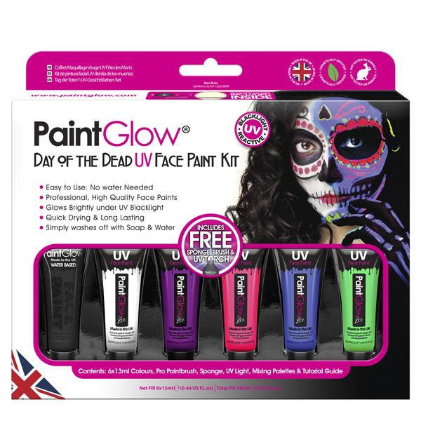 Paintglow UV Reactive Day of the Dead Paint Kit