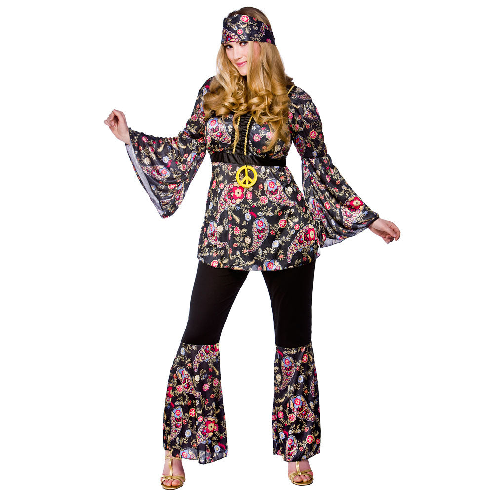1960's Peace Lovin Hippie 1960 fancy dress costume plus size.