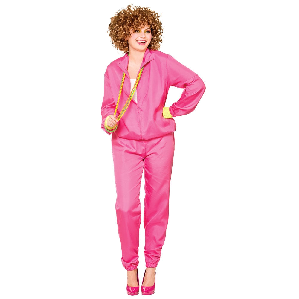 Our adult pink 80's Shell Suit Costume comes complete with pink shellsuit jacket and trousers.