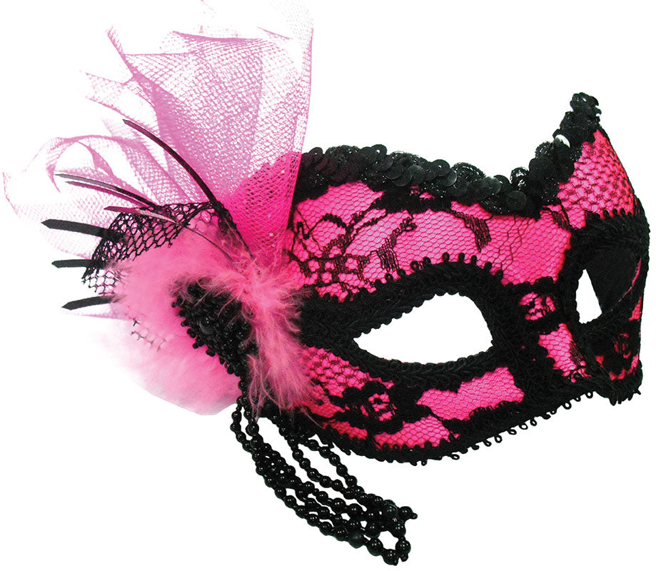 Pink & Black Lace Decoration On Band Masquerade Mask