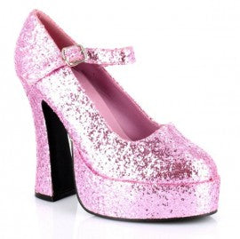 Pink Glitter Mary Jane Platform Shoes
