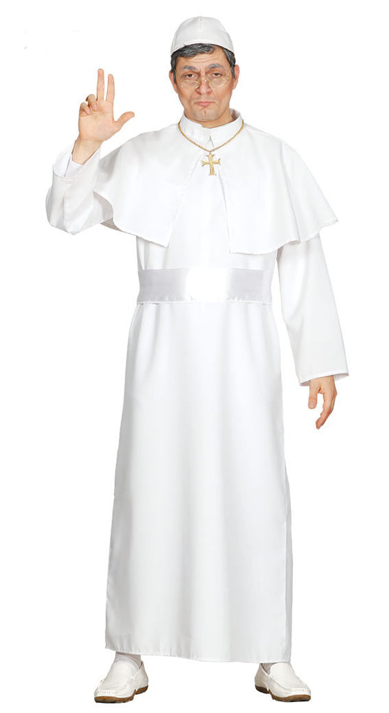 The pope costume features a full length, long sleeved white papal robe white belt, white capelet collar and white papal cap.