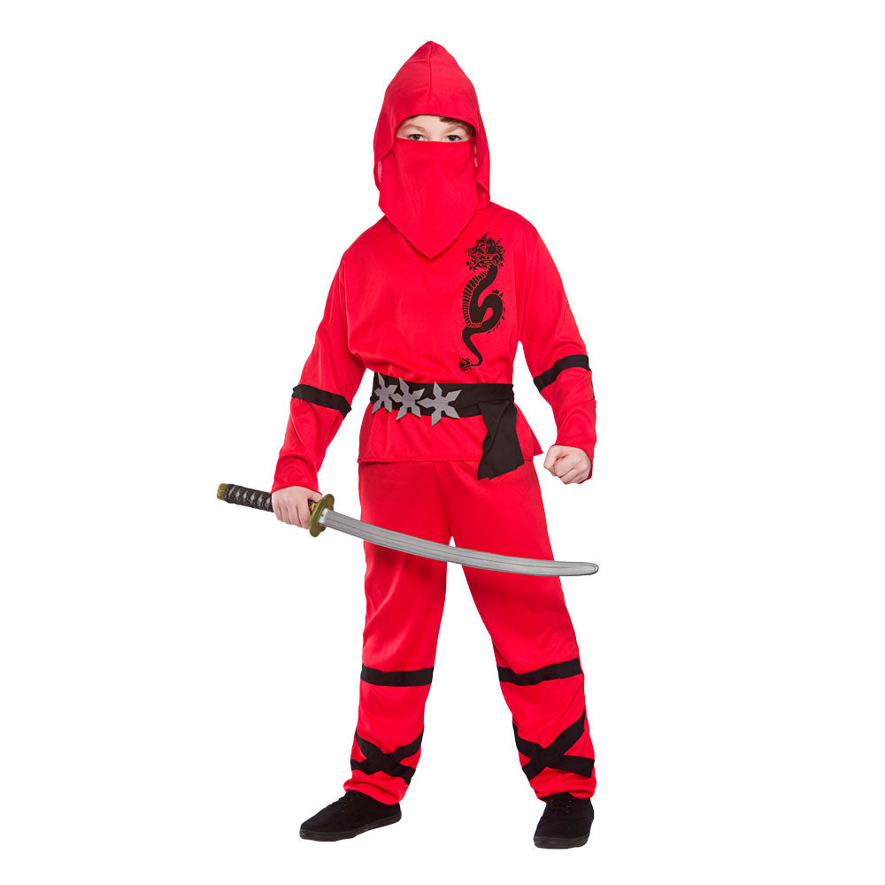 Kids Power Ninja Red fancy dress Costume