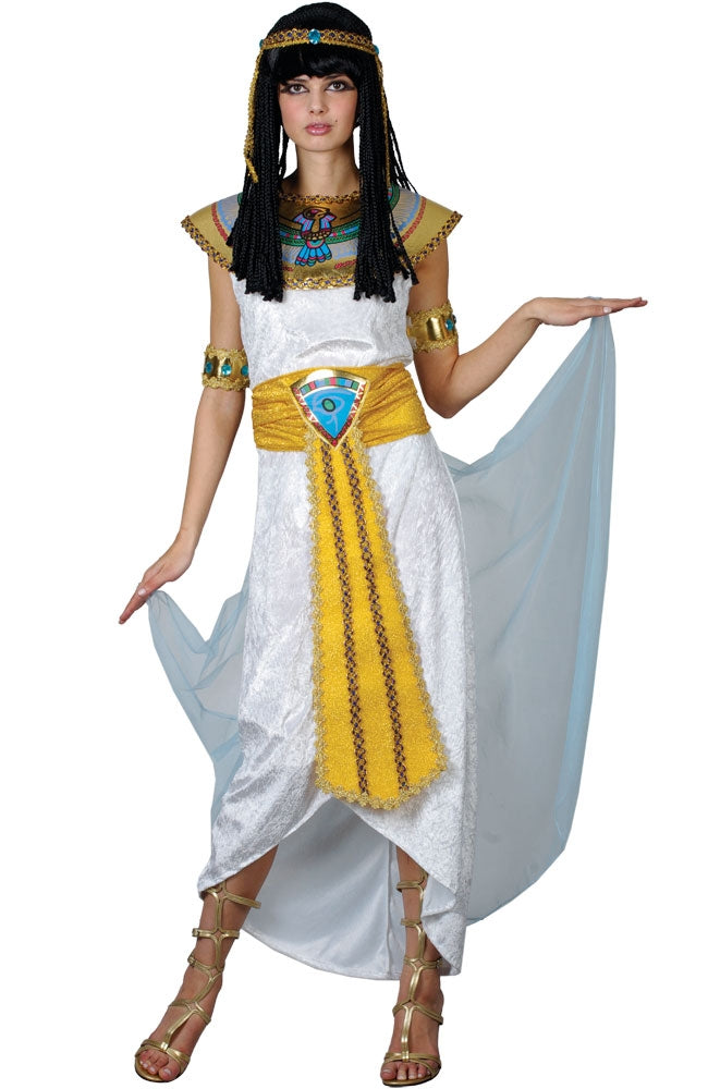 Transform yourself into the most recognizable and beautiful Egyptian princess of them all with this stunning Princess Cleopatra fancy dress costume.
