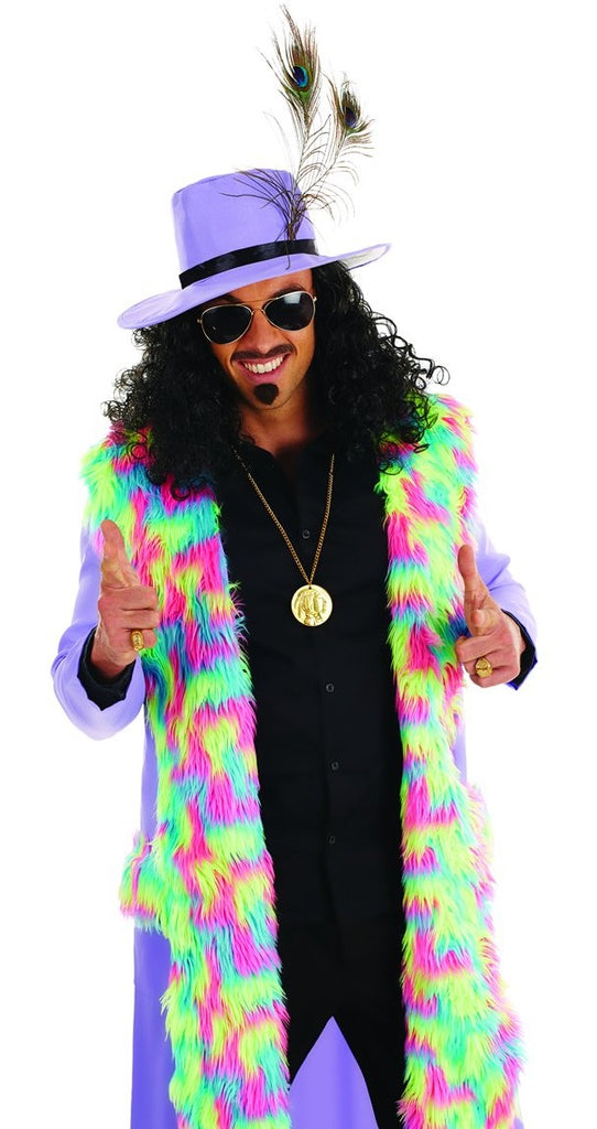 With this eye-catching pimp costume, you are guaranteed to be the coolest person at the party in this Huggy Bear style Purple Pimp Costume.