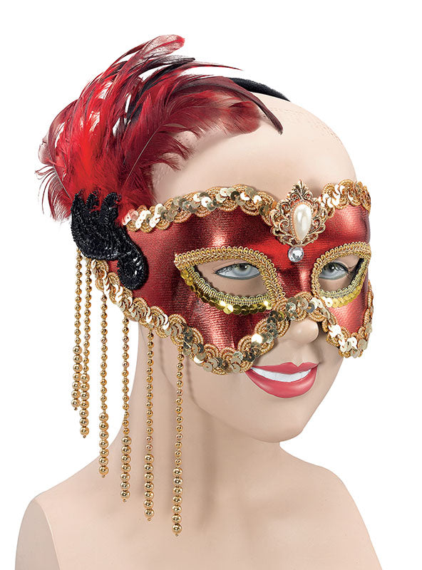 Red Satin masquerade eye-Mask  Beads and Red Feathers