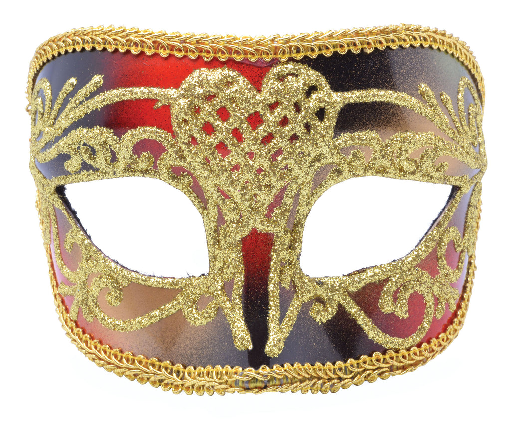 Red Gold Masquerade Mask Men's