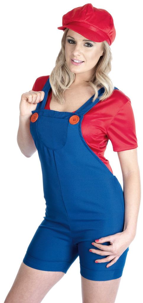 This funny ladies Mario outfit includes a pair of blue dungarees with red oversized buttons and a red t shirt.