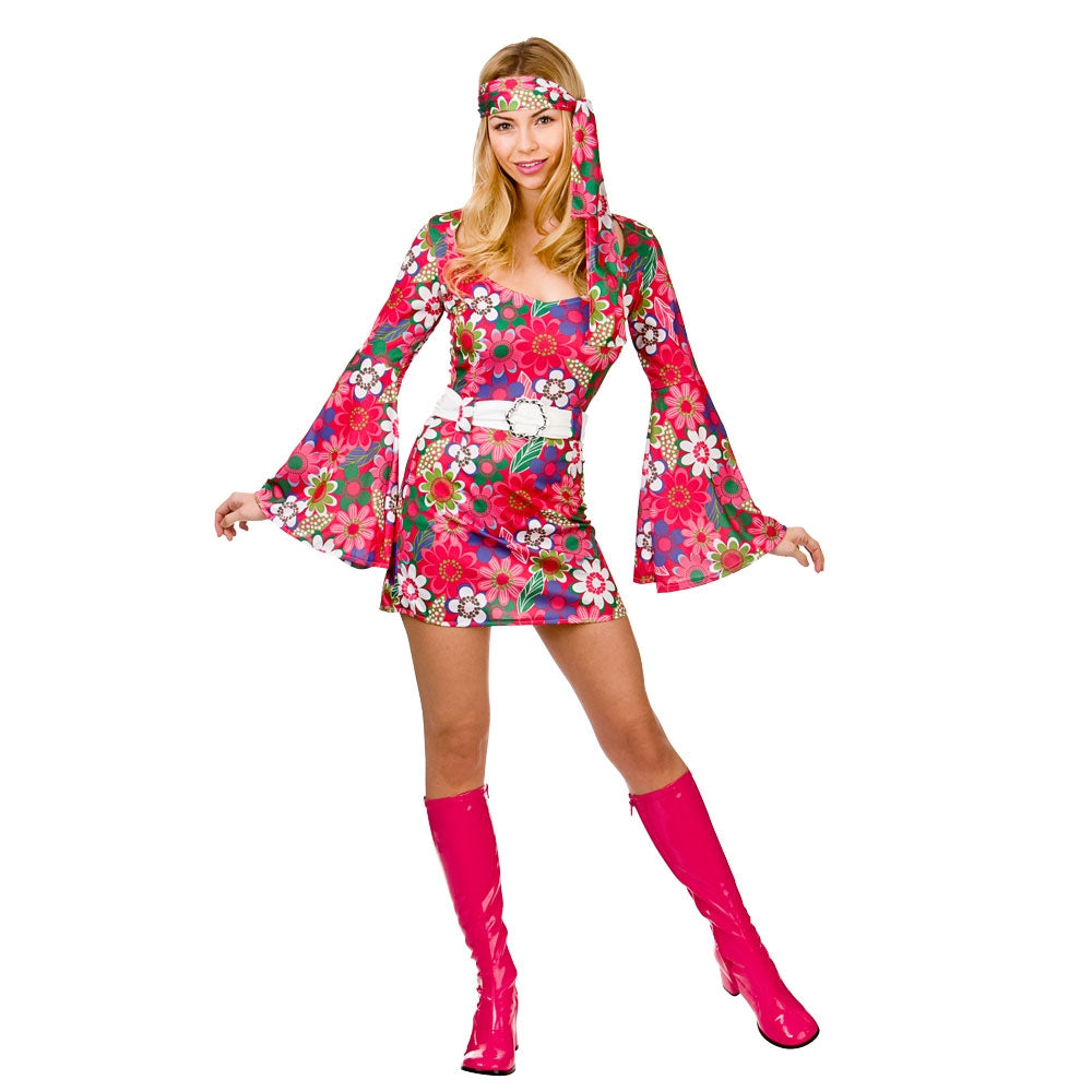Retro Go Go Girl Flower Ladies 1960's Costume