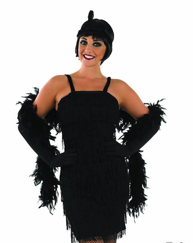 Ladies Roaring 1920's Girl Black Flapper Dress.