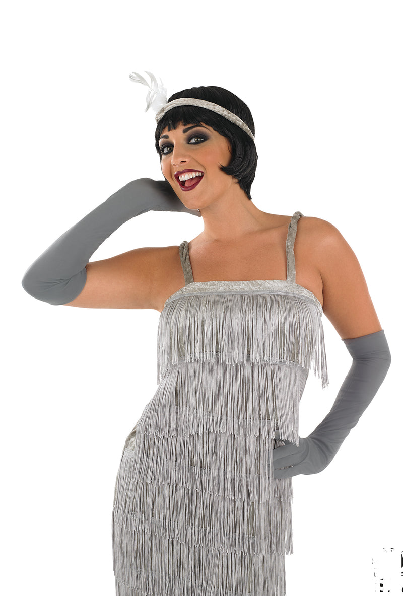 Roaring 1920's Girl Silver Flapper fancy dress costume.