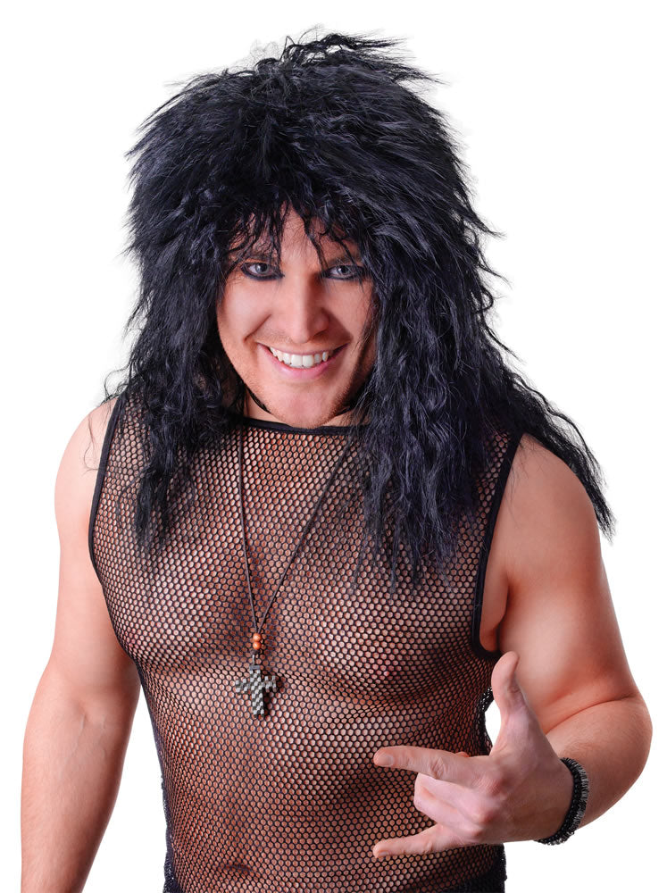 Male Rock Star Wig Black