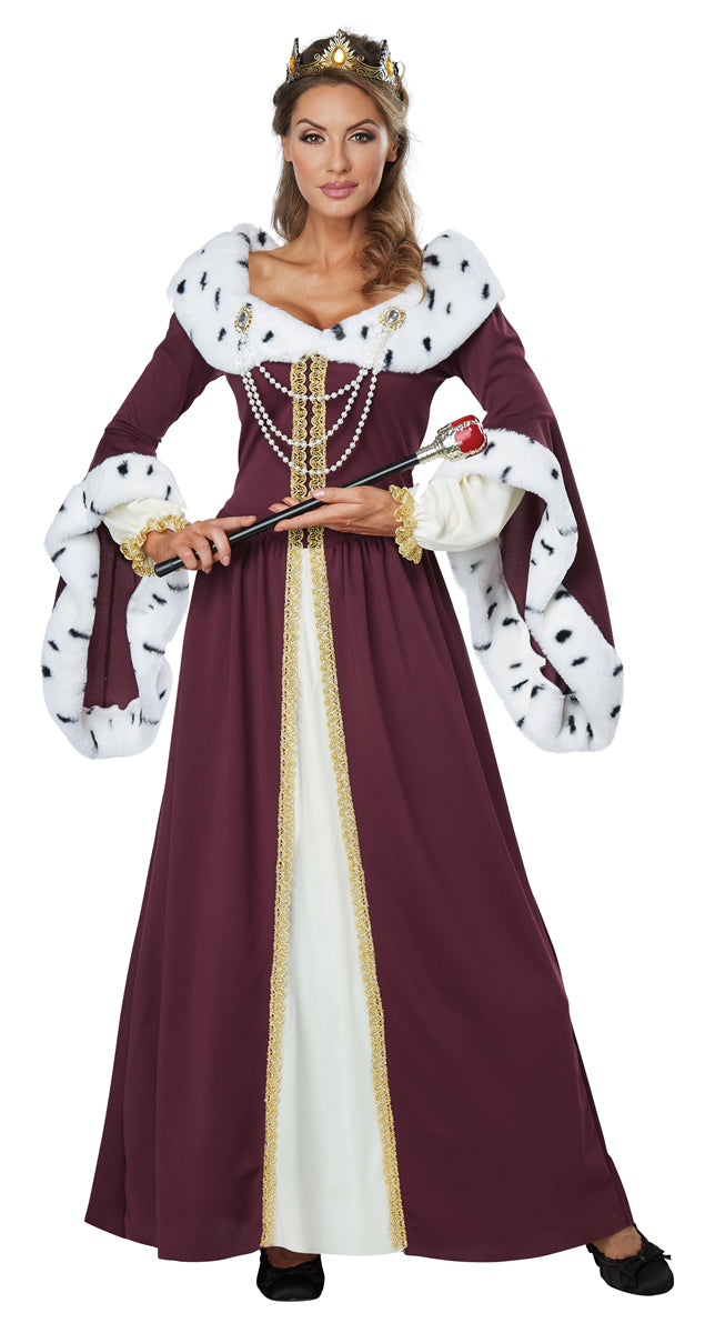 Take your seat upon the throne as her Majesty in our Royal Storybook Queen Costume.  Our Costume Storybook Queen costume includes this long burgundy dress with luscious faux ermine for around the collar and sleeves.