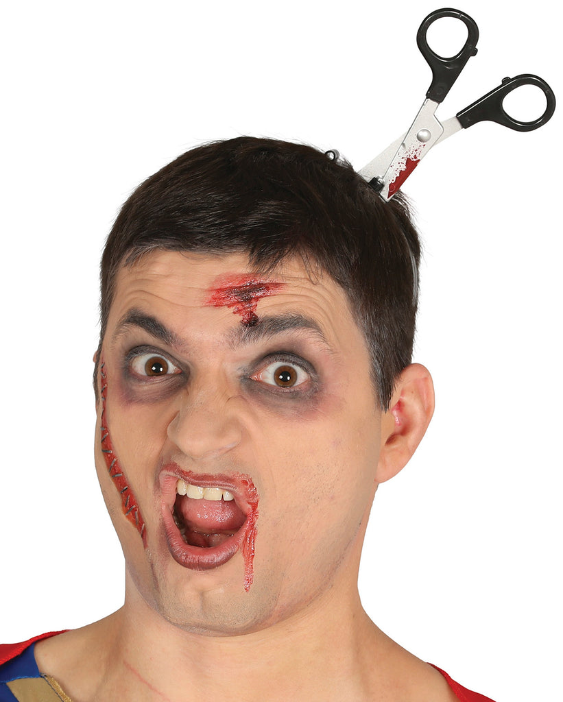 Scissors in Head Halloween or fancy dress prop.