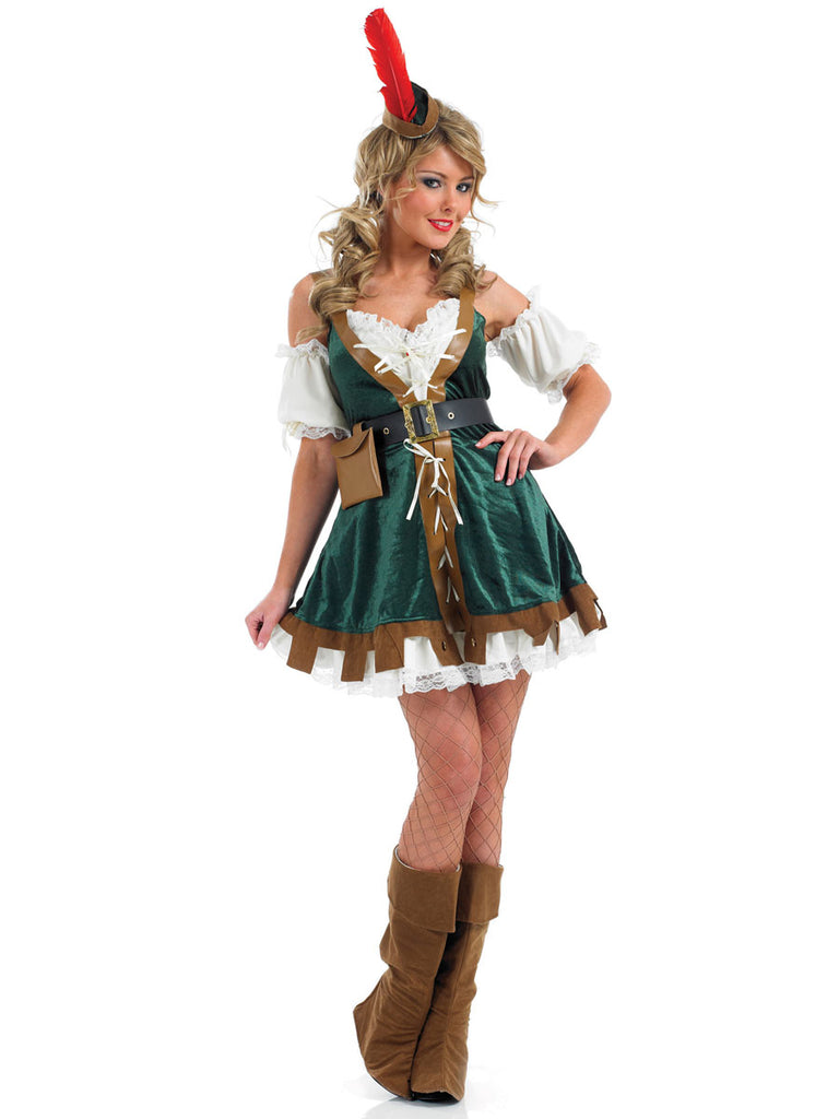 This ladies Sexy Robin Hood costume includes a hat and short dress