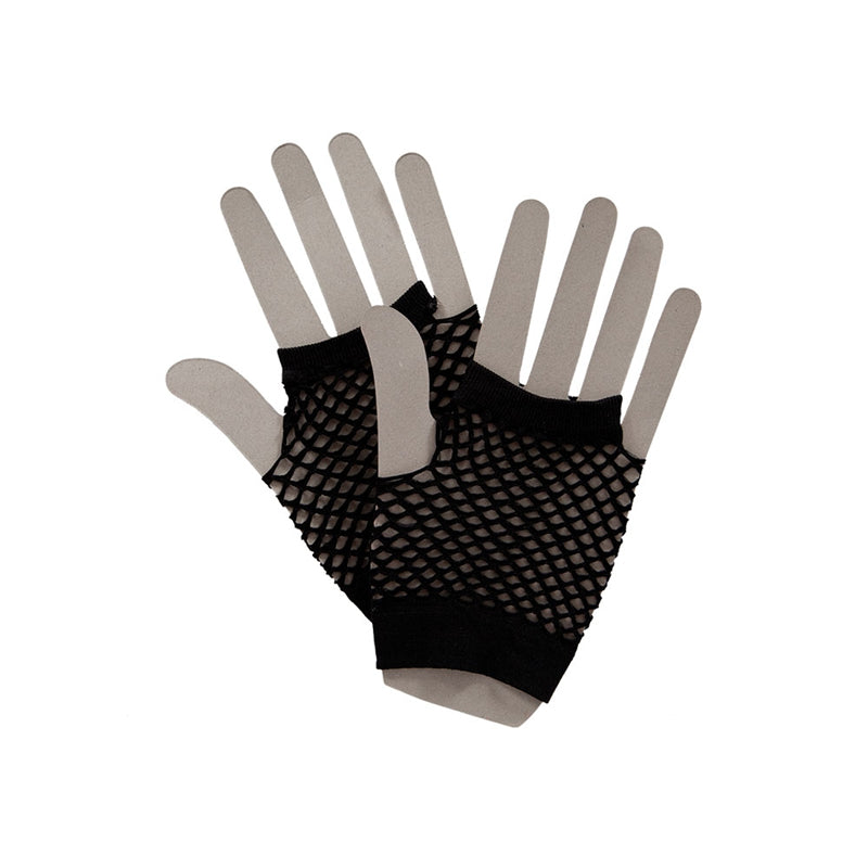 Black Short 1980's Net Gloves