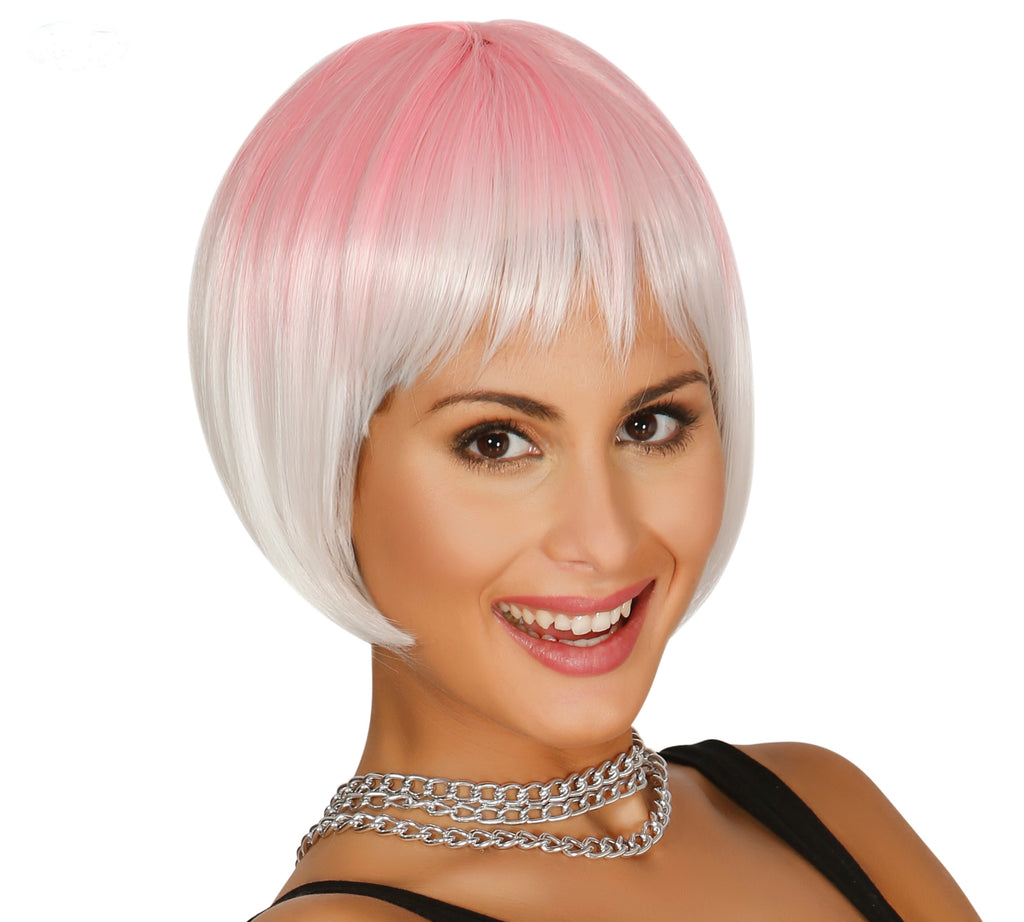 Short Pink Wig Two Tone