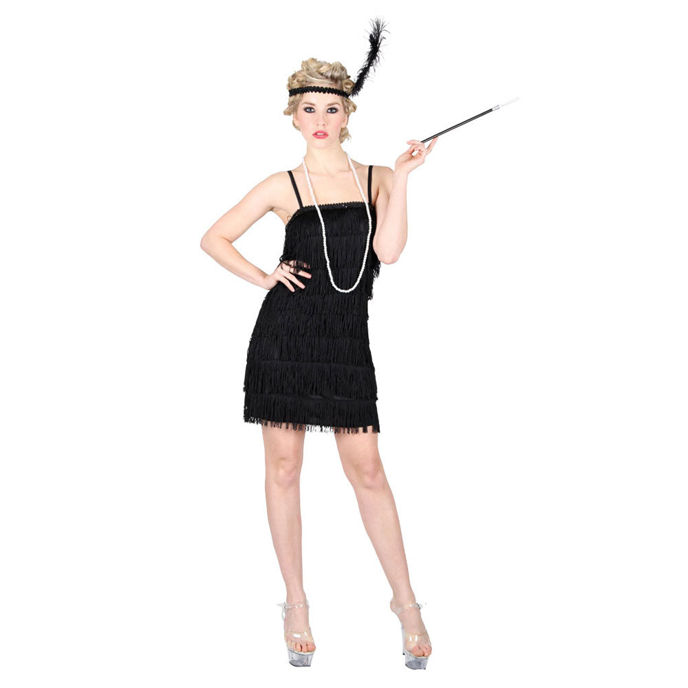 Showtime Flapper Charleston Fancy Dress Costume Black