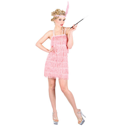 This pink 1920's Showtime Flapper Girl or Charleston fancy dress costume includes dress and feather headband.