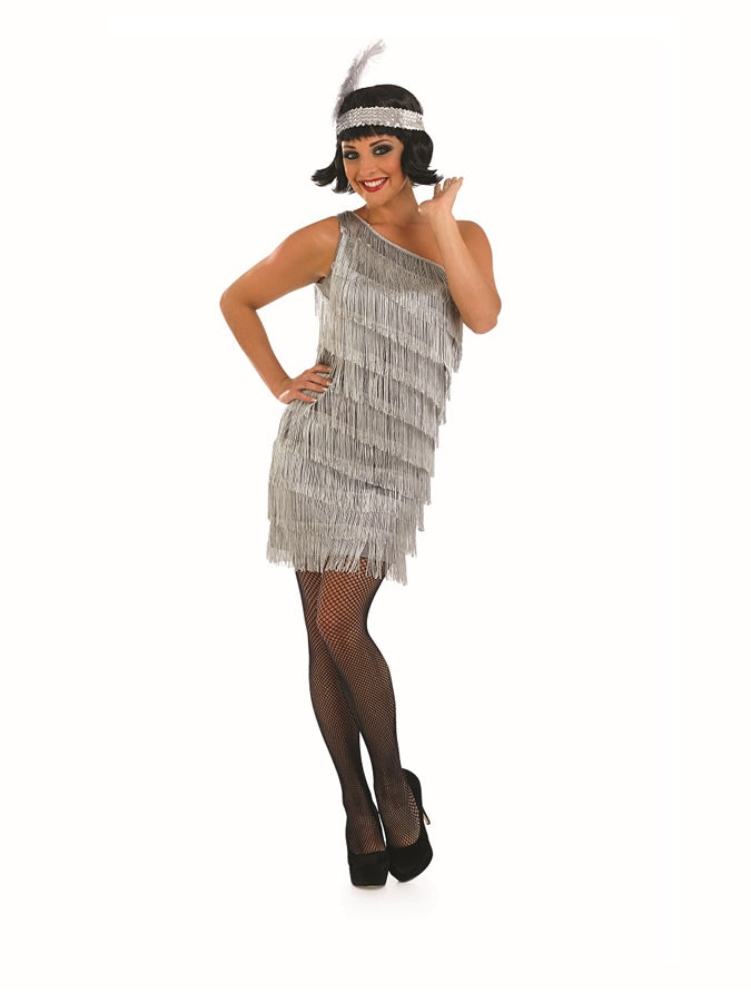 You'll be swing dancing back to the roaring 20's with every step you take in this shimmering Silver Flapper Costume.