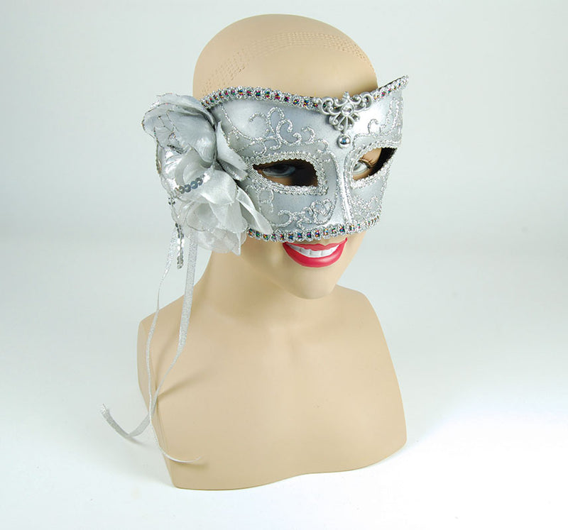 Silver Masquerade Mask With Fabric Side Rose