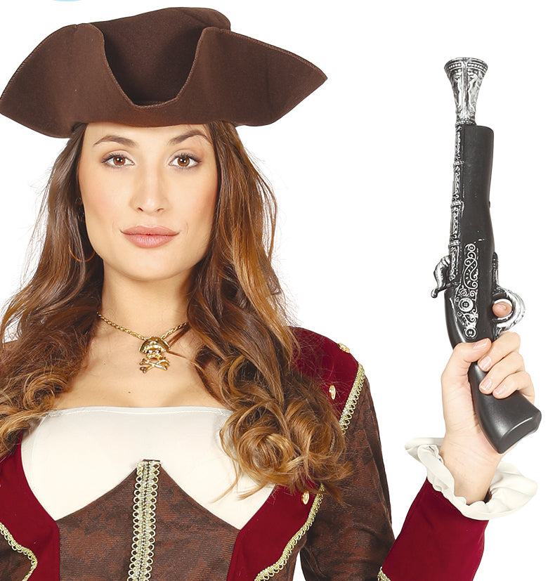 Silver Pirate Pistol fancy dress costume accessory.