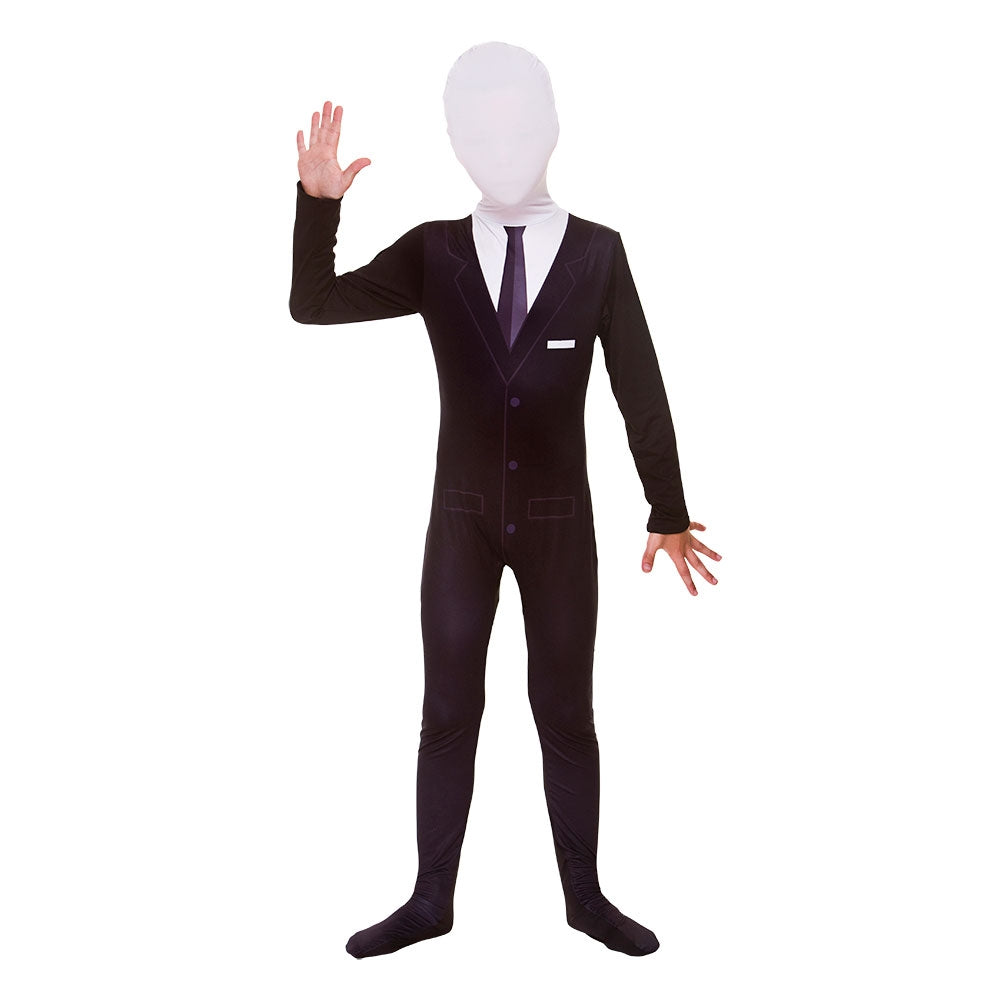 Children's Slenderman Tuxedo Skinz Costume Boys