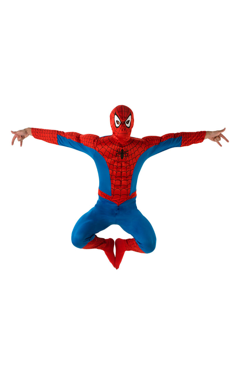 Spiderman Deluxe Costume includes a one piece red and blue printed jumpsuit with a padded chest.