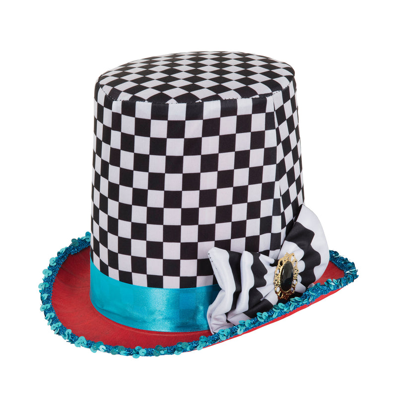 Stovepipe Mad Hatter chequered top hat.