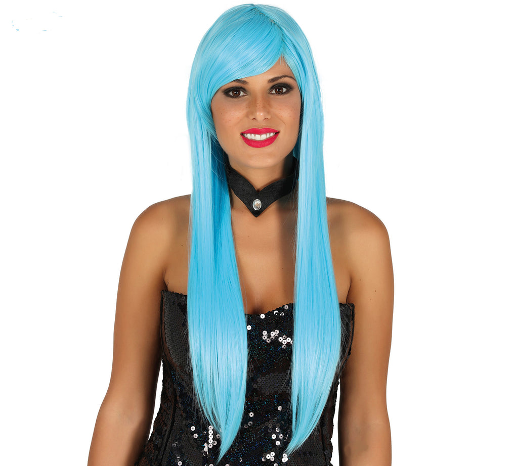 Straight Long Light Blue Wig Deluxe