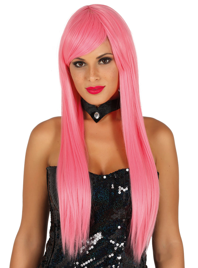 Straight Long Pink Wig Deluxe
