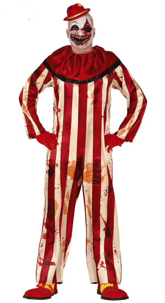 Men's adult Striped Clown fancy dress Halloween costume