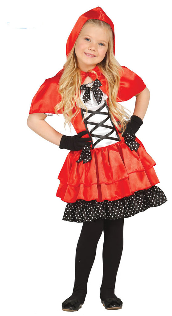 This is a cute classic girls Little Red Riding Hood dress that is red, black and white